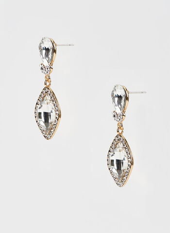 Crystal Dangle Earrings, Gold, hi-res