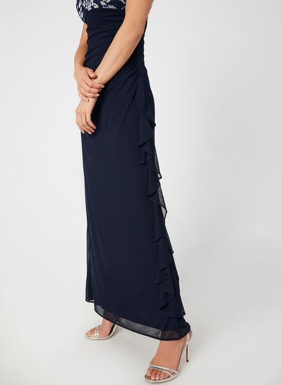 Robe à corsage brodé et jupe en maille filet, Bleu, hi-res