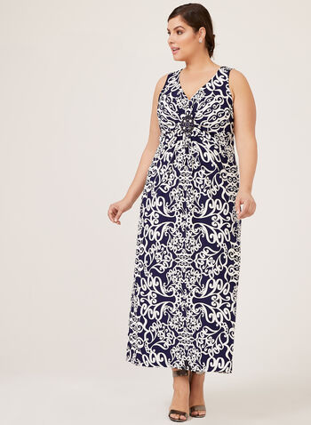 Paisley Print Maxi Dress With Rhinestone Medallion, Blue, hi-res