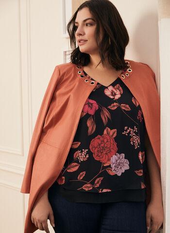 Floral Print Sleeveless Blouse, Black,  top, blouse, sleeveless, floral, crepe, layered, v-neck, spring summer 2021