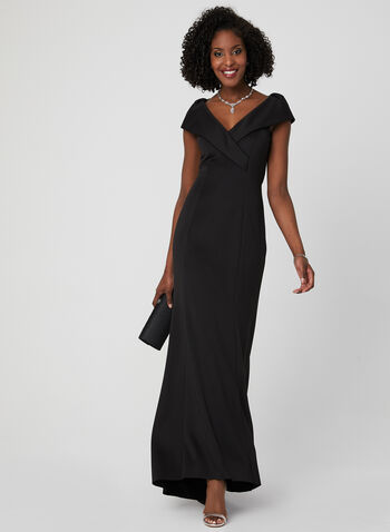 Portrait Collar Gown, Black, hi-res