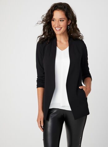 Open Front Jacket, Black, hi-res