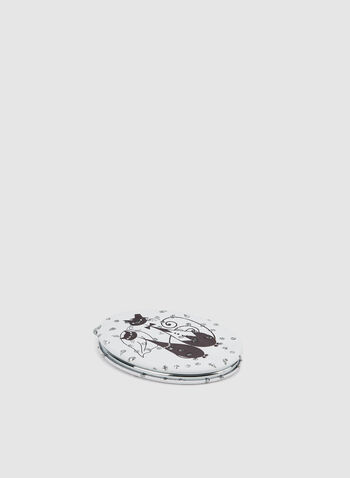 Cat Print Compact Mirror, Black,  mirror, cats, oval, fall 2019