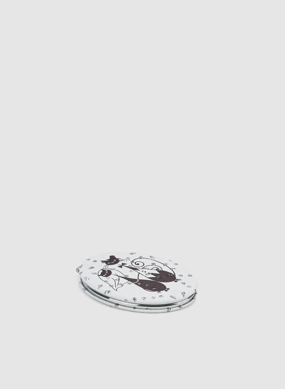 Miroir de poche à imprimé chats, Noir