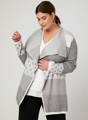Open Front Cascading Cardigan , Grey, hi-res