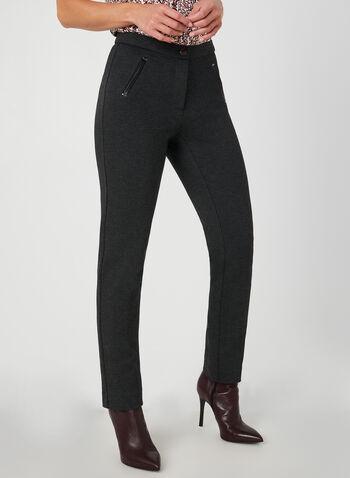 Pantalon cheville à coupe signature, Gris,  automne hiver 2019, faux cuir, similicuir, coupe signature, taille haute, jambe droite