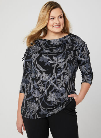 Floral Print Boat Neck Top, Black, hi-res