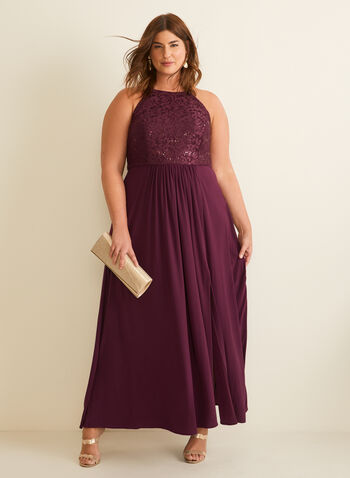 Lace & Sequin Bodice Dress , Purple,  Spring summer 2020, dress, evening dress, fine lace, sequins, glitter, apron neck, sleeveless