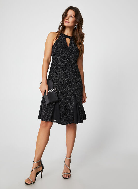 Glitter Cleo Neck Dress, Black
