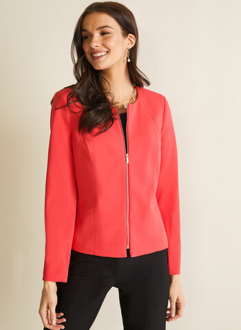 Crew Neck Zipper Detail Blazer , Red,  blazer, long sleeves, sipper, crew neck, shoulder pads, crepe, spring summer 2020