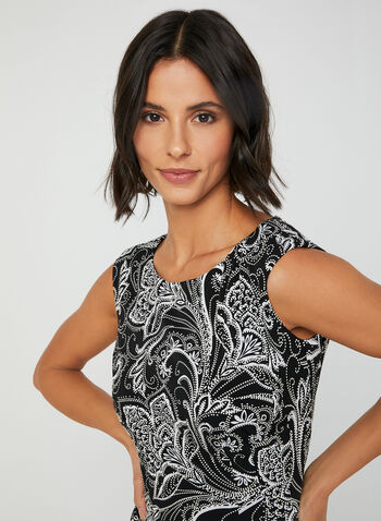 Paisley Puff Print Dress, Black, hi-res,  short dress, paisley print dress, sleeveless dress