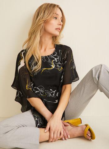 Floral Chiffon Poncho Blouse, Black,  blouse, poncho, chiffon, asymmetric, floral, jersey, spring summer 2020