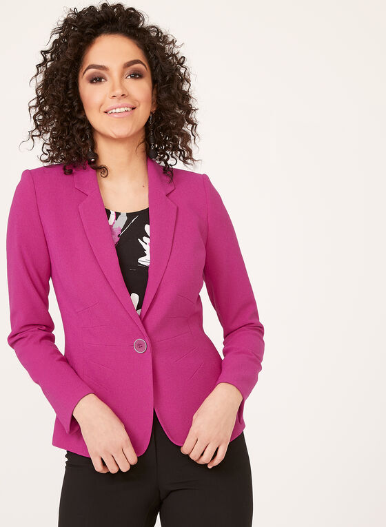 One-Button Crepe Jacket, Pink