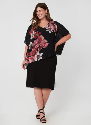 Floral Print Poncho Blouse , Black, hi-res,  floral print, poncho, asymmetric, open shoulders, fall 2019, winter 2019