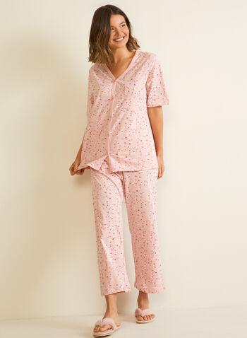 Ensemble pyjama 2 pièces , Rose,  pyjama, ensemble, 2 pièces, imprimé floral, capri, automne hiver 2020