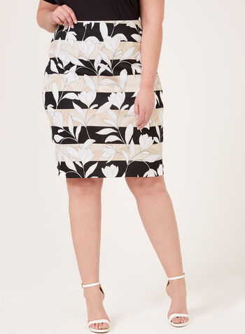 Stripe Floral Print Scuba Skirt, Black, hi-res