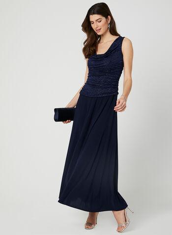 Sleeveless Cowl Neck Dress, Blue,  drape neck, long dress, ruching, glitter, spring 2019