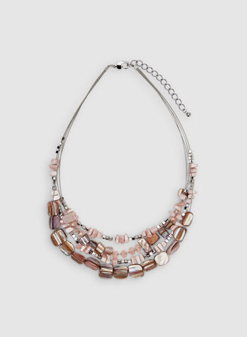 Multi-Row Beaded Necklace, Pink,  necklace, wire, multi-row, beads, spring 2019, summer 2019