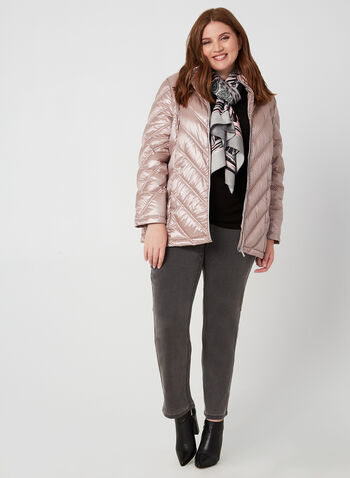 Quilted Down Jacket, Pink, hi-res,  down, coat, jacket, zipper, pockets, nylon, hood, quilted, metallic, long sleeves, feather, fall 2019, winter 2019