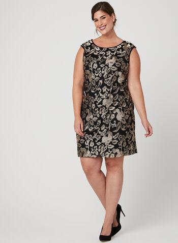 Floral Print Mesh Dress, Black, hi-res