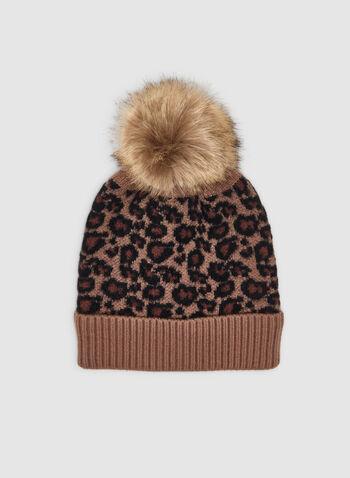 Tuque en léopard à pompon, Brun,  tuque, léopard, tricot côtelé, pompon, fausse fourrure, automne hiver 2019