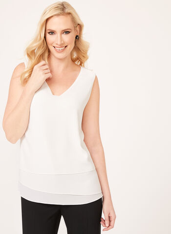 Tiered Crepe Camisole, Off White, hi-res