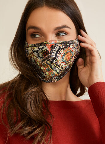 Ornamental Print Mask, Orange,  mask, fabric, print, reusable, washable, fall winter 2020