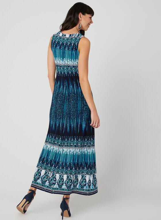 Robe maxi à motif aztèque, Bleu