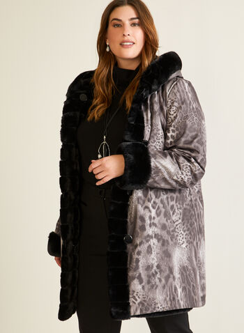 Leopard Print Reversible Coat, Black,  coat, faux fur, waterproof, leopard, reversible, hood, pockets, fall winter 2020