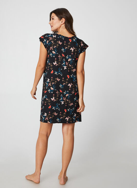 Hamilton - Mixed Butterfly & Floral Print Nightgown, Black