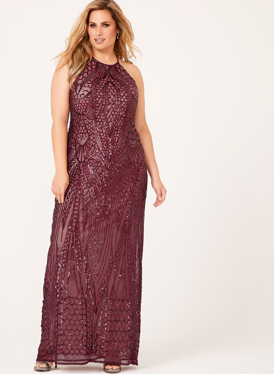 Sequin Embellished Halter Neck Gown, Red, hi-res