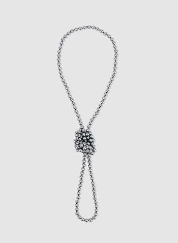 Collier sautoir en perles grises, Gris, hi-res