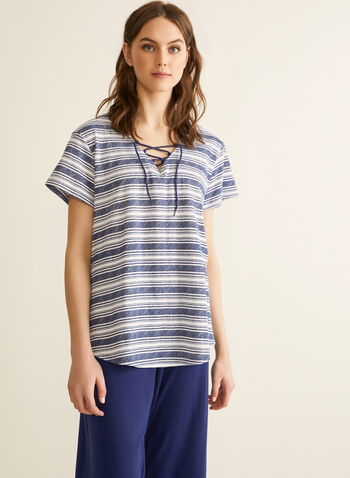 Claudel Lingerie - Ensemble pyjama rayé, Bleu,  printemps été 2020, pyjama, Claudel Lingerie