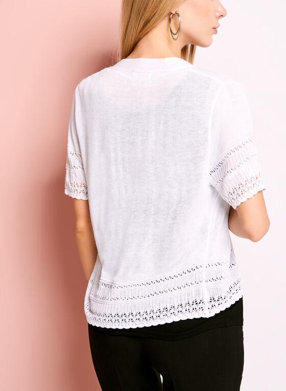 Boléro en tricot pointelle ajouré, Blanc, hi-res