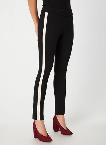 Pantalon pull-on à bandes contrastantes, Noir,  pantalon, cité, bande latérale, pull-on, point de Rome, automne hiver 2019