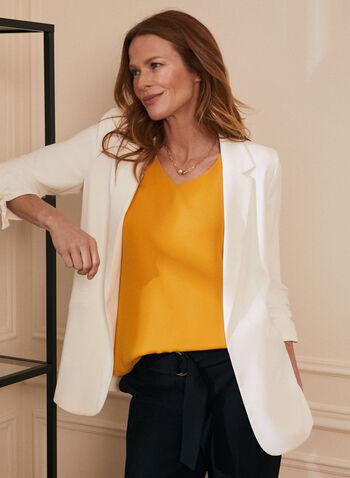 Veste tailleur ouverte à col cranté , Blanc cassé,  veste, col cranté, ouvert, manches 3/4 froncées, noeud, sergé, printemps été 2021