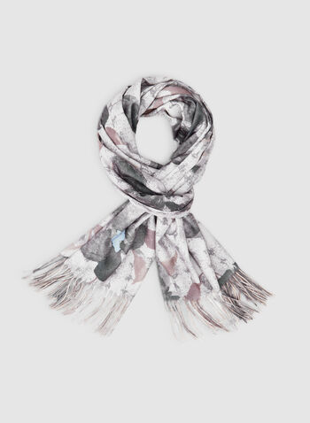 Floral Print Scarf, Brown,  scarf, floral print, fringe, fall 2019, winter 2019