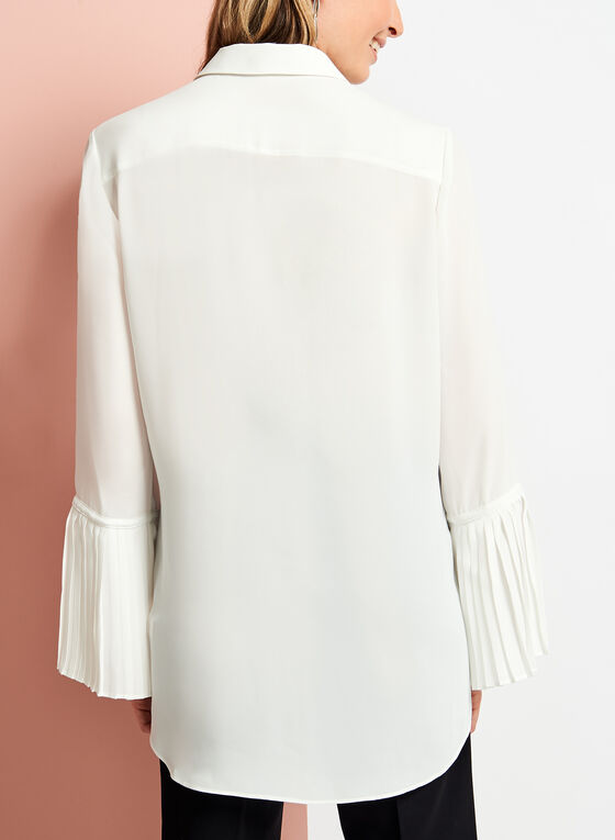 Bell Sleeve Button Down Blouse, Off White, hi-res