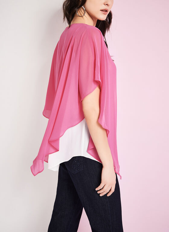 Asymmetric Poncho Blouse, Red, hi-res