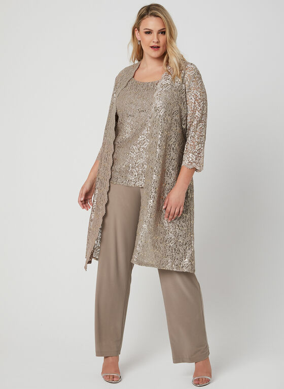 3-Piece Glitter Lace Pantsuit, Off White, hi-res
