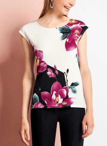 Haut asymétrique à fleurs avec fente au dos, Rouge, hi-res