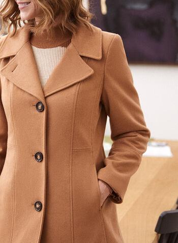 Structured Wool Blend Coat, Beige,  fall winter 2020, coat, princess cut, structured, wool blend, fleece, notch collar, long sleeve, button, pocket, warm, winter
