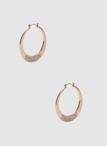 Crystal Embellished Hoop Earrings, Pink, hi-res