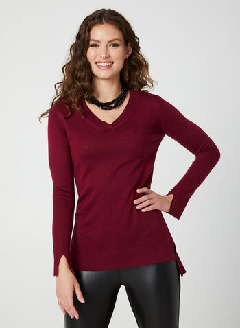 V-Neck Sweater, Red,  ribbed sweater