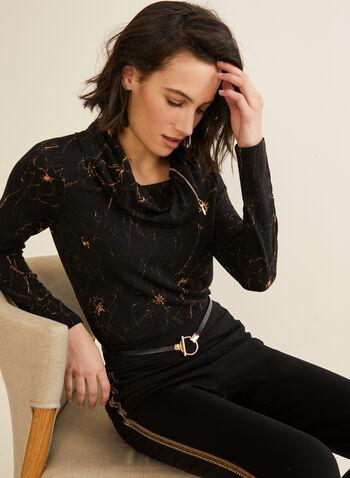 Haut à col zippé et motif abstrait, Noir,  automne hiver 2019, haut, col, rabat, zip, motif, floral, fleurs, fleuri, tricot, Canada