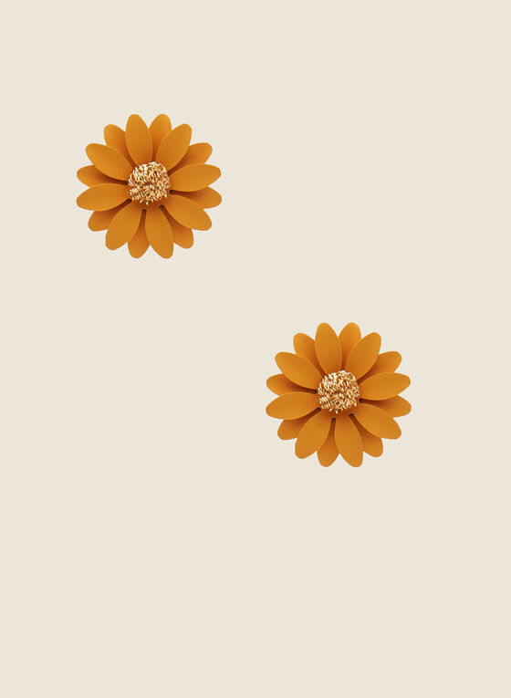 Flower Stud Earrings, Yellow