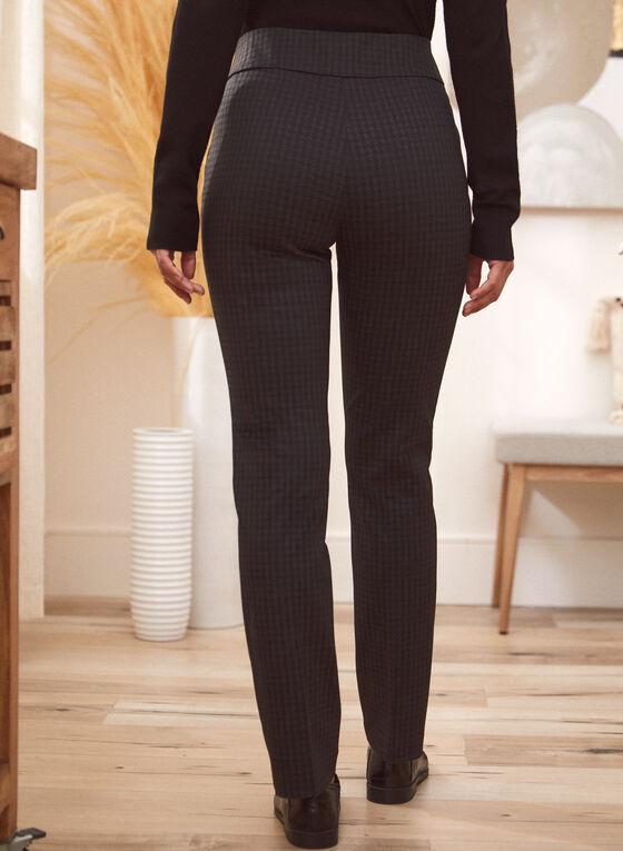 Straight Leg Houndstooth Pants, Black