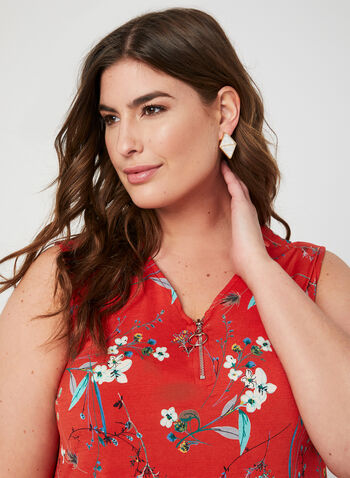Sleeveless Floral Print Blouse, Red, hi-res,  sharkbite top, sleeveless top, floral blouse
