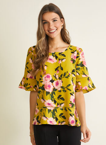 Floral Print Ruffle Sleeve Blouse, Green,  blouse, floral, scoop neck, ruffle sleeve, spring summer 2020