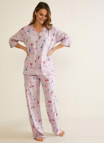 Ensemble pyjama 2 pièces motif Paris , Violet,  automne hiver 2020, pyjama, fêtes, fêtes 2020, ensemble 2 pièces, imprimé
